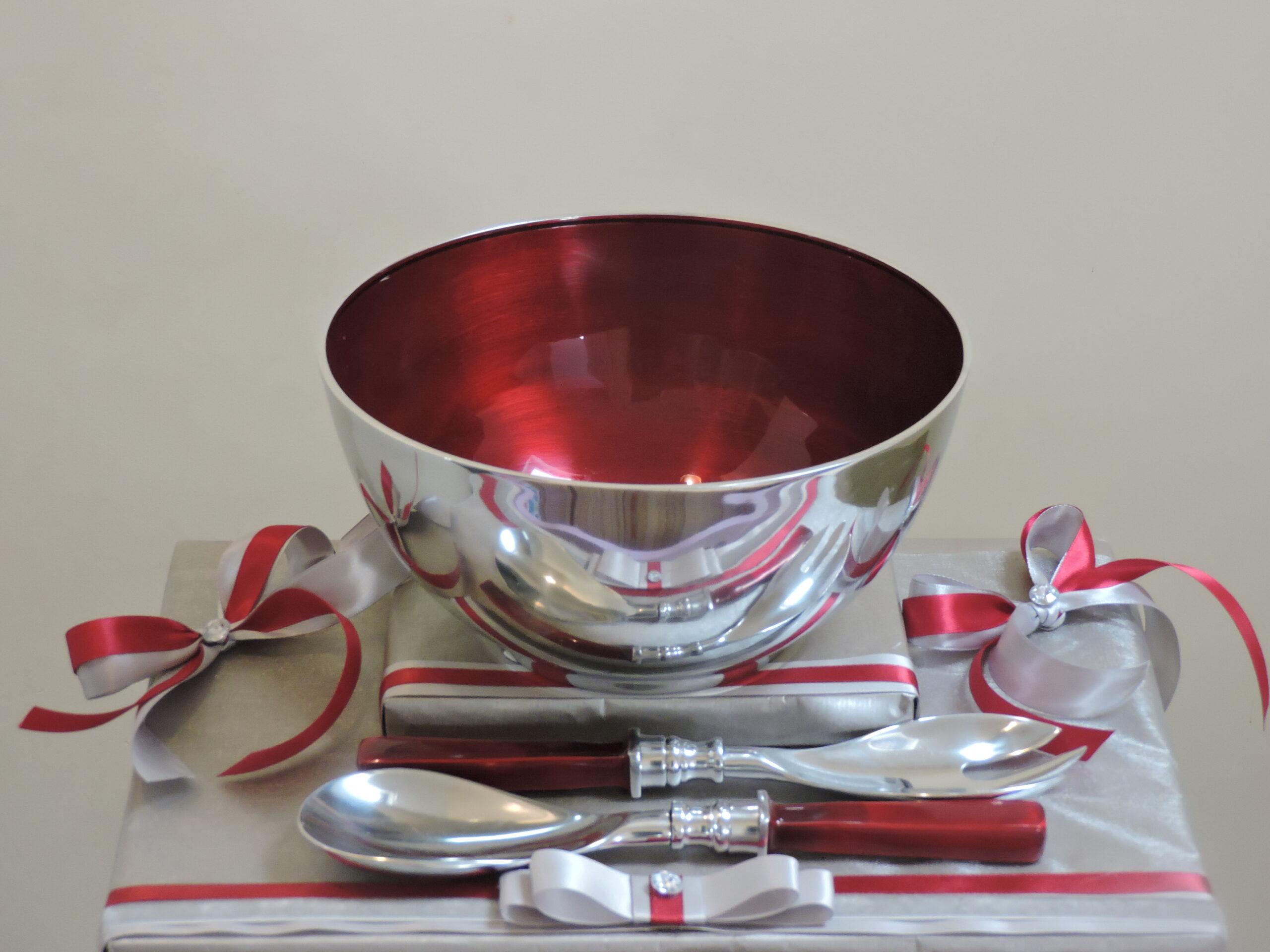 Red aluminium salad Set