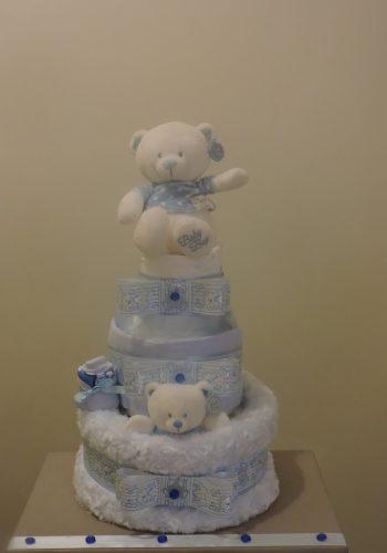 Blue Polka Dot Nappy Cake