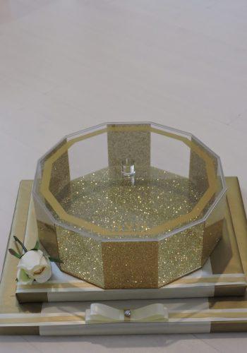 Gold Hexagon Matzah Box