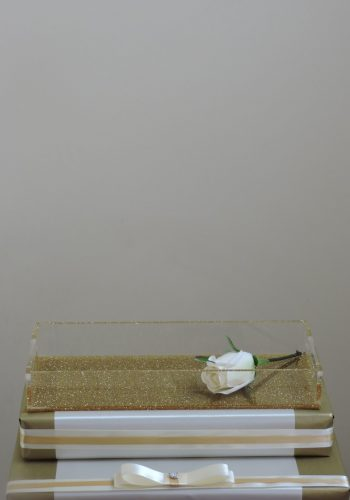Gold Glitter Lucite Tray