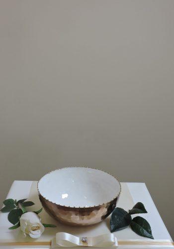 White Hammered Bowl