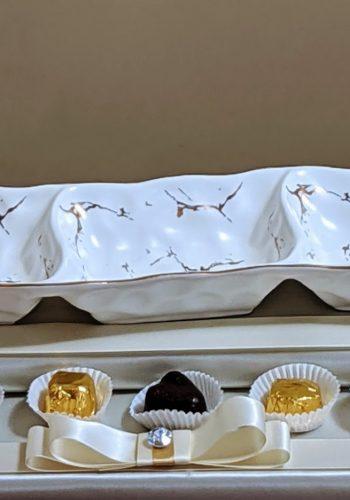 White & Gold Dish & Pralines